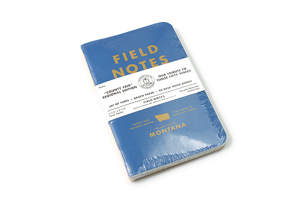"""Field Notes Color Cover Memo Book - County Fair - 3.5"""" x 5.5"""" - 48 Pages - 5 mm Graph - Pack of 3 - Montana - FIELD NOTES FN-01A-MT"""