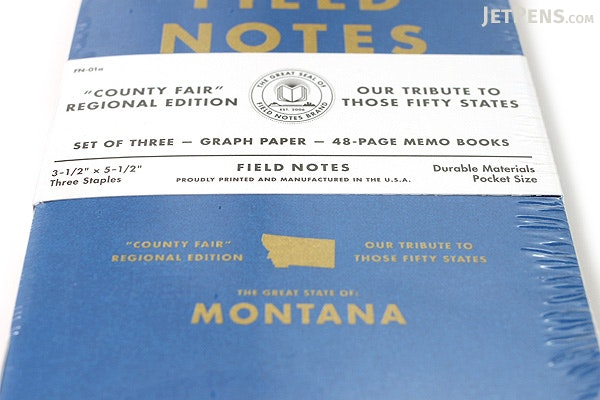 "Field Notes Color Cover Memo Book - County Fair - 3.5"" x 5.5"" - 48 Pages - 5 mm Graph - Pack of 3 - Montana - FIELD NOTES FN-01A-MT"
