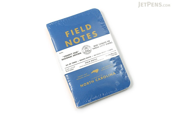 "Field Notes Color Cover Memo Book - County Fair - 3.5"" x 5.5"" - 48 Pages - 5 mm Graph - Pack of 3 - North Carolina - FIELD NOTES FN-01A-NC"