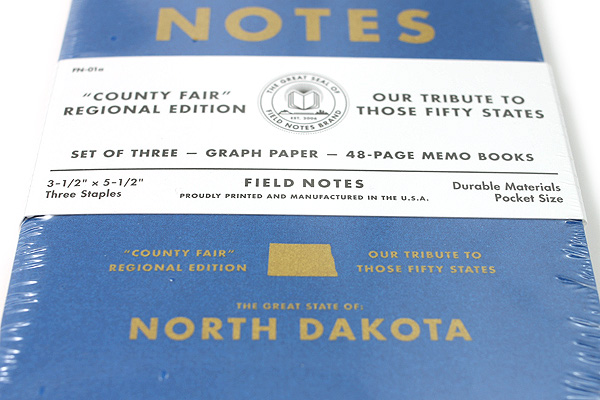 "Field Notes Color Cover Memo Book - County Fair - 3.5"" x 5.5"" - 48 Pages - 5 mm Graph - Pack of 3 - North Dakota - FIELD NOTES FN-01A-ND"
