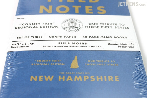 "Field Notes Color Cover Memo Book - County Fair - 3.5"" x 5.5"" - 48 Pages - 5 mm Graph - Pack of 3 - New Hampshire - FIELD NOTES FN-01A-NH"