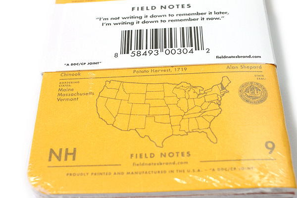 """Field Notes Color Cover Memo Book - County Fair - 3.5"""" x 5.5"""" - 48 Pages - 5 mm Graph - Pack of 3 - New Hampshire - FIELD NOTES FN-01A-NH"""