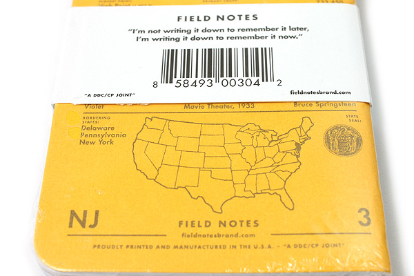 """Field Notes Color Cover Memo Book - County Fair - 3.5"""" x 5.5"""" - 48 Pages - 5 mm Graph - Pack of 3 - New Jersey - FIELD NOTES FN-01A-NJ"""