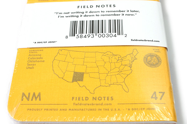 """Field Notes Color Cover Memo Book - County Fair - 3.5"""" x 5.5"""" - 48 Pages - 5 mm Graph - Pack of 3 - New Mexico - FIELD NOTES FN-01A-NM"""