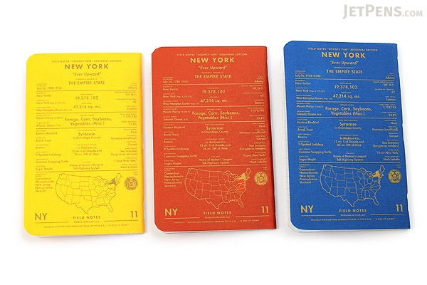 """Field Notes Color Cover Memo Book - County Fair - 3.5"""" x 5.5"""" - 48 Pages - 5 mm Graph - Pack of 3 - New York - FIELD NOTES FN-01A-NY"""