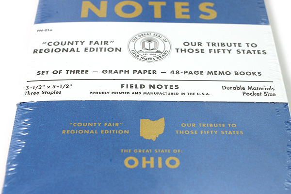 """Field Notes Color Cover Memo Book - County Fair - 3.5"""" x 5.5"""" - 48 Pages - 5 mm Graph - Pack of 3 - Ohio - FIELD NOTES FN-01A-OH"""