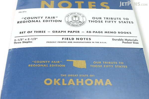 """Field Notes Color Cover Memo Book - County Fair - 3.5"""" x 5.5"""" - 48 Pages - 5 mm Graph - Pack of 3 - Oklahoma - FIELD NOTES FN-01A-OK"""
