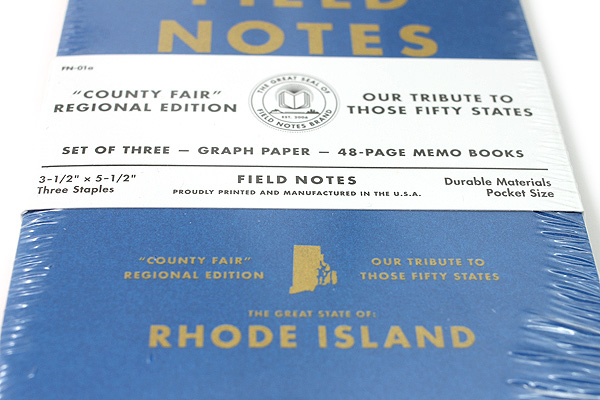 """Field Notes Color Cover Memo Book - County Fair - 3.5"""" x 5.5"""" - 48 Pages - 5 mm Graph - Pack of 3 - Rhode Island - FIELD NOTES FN-01A-RI"""