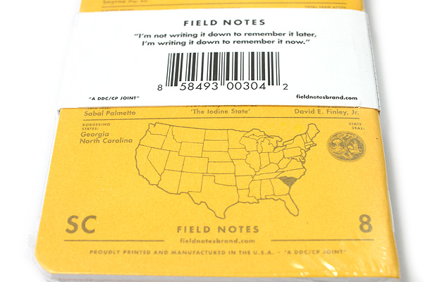 """Field Notes Color Cover Memo Book - County Fair - 3.5"""" x 5.5"""" - 48 Pages - 5 mm Graph - Pack of 3 - South Carolina - FIELD NOTES FN-01A-SC"""