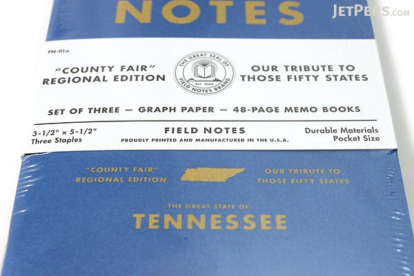 """Field Notes Color Cover Memo Book - County Fair - 3.5"""" x 5.5"""" - 48 Pages - 5 mm Graph - Pack of 3 - Tennessee - FIELD NOTES FN-01A-TN"""