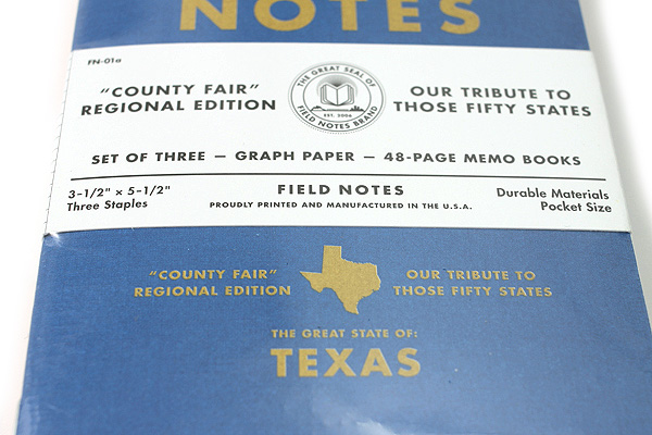"""Field Notes Color Cover Memo Book - County Fair - 3.5"""" x 5.5"""" - 48 Pages - 5 mm Graph - Pack of 3 - Texas - FIELD NOTES FN-01A-TX"""