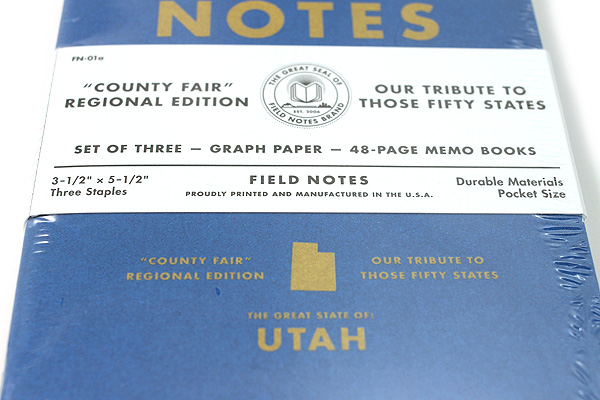 "Field Notes Color Cover Memo Book - County Fair - 3.5"" x 5.5"" - 48 Pages - 5 mm Graph - Pack of 3 - Utah - FIELD NOTES FN-01A-UT"