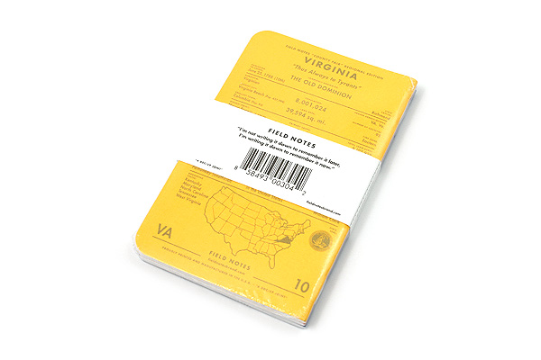 """Field Notes Color Cover Memo Book - County Fair - 3.5"""" x 5.5"""" - 48 Pages - 5 mm Graph - Pack of 3 - Virginia - FIELD NOTES FN-01A-VA"""