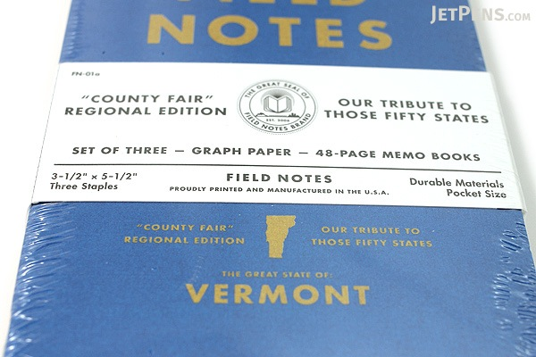 """Field Notes Color Cover Memo Book - County Fair - 3.5"""" x 5.5"""" - 48 Pages - 5 mm Graph - Pack of 3 - Vermont - FIELD NOTES FN-01A-VT"""