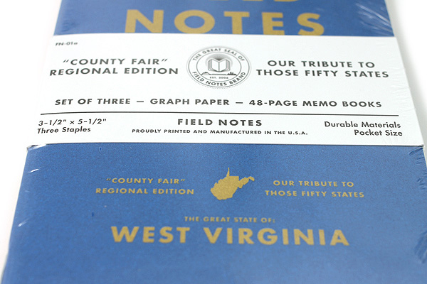 "Field Notes Color Cover Memo Book - County Fair - 3.5"" x 5.5"" - 48 Pages - 5 mm Graph - Pack of 3 - West Virginia - FIELD NOTES FN-01A-WV"
