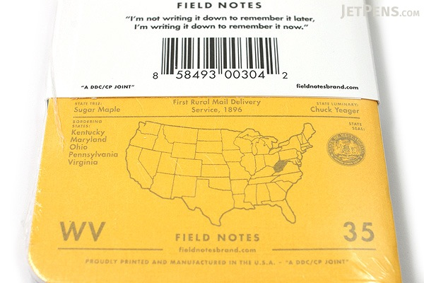 """Field Notes Color Cover Memo Book - County Fair - 3.5"""" x 5.5"""" - 48 Pages - 5 mm Graph - Pack of 3 - West Virginia - FIELD NOTES FN-01A-WV"""