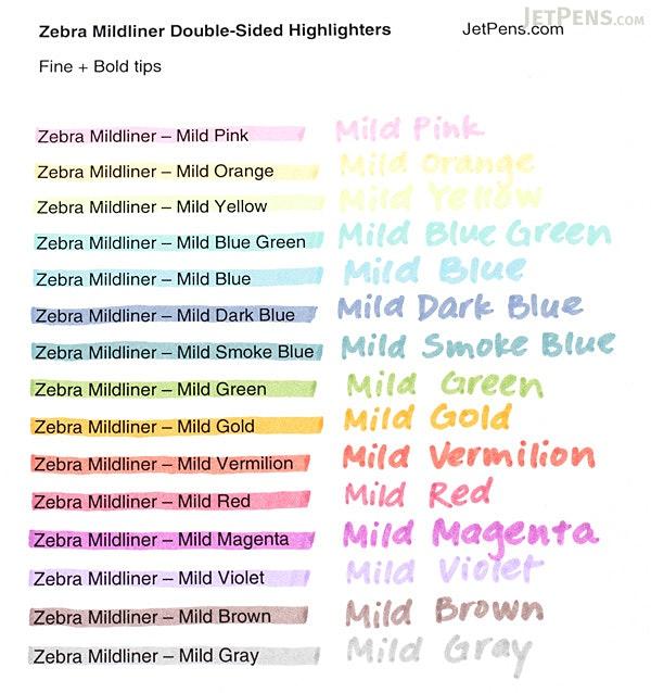 Zebra Mildliner Double-Sided Highlighter - Fine / Bold - Mild Smoke Blue - ZEBRA WKT7-MSB