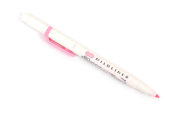 Zebra Mildliner Double-Sided Highlighter - Fine / Bold - Mild Pink - ZEBRA WKT7-MP
