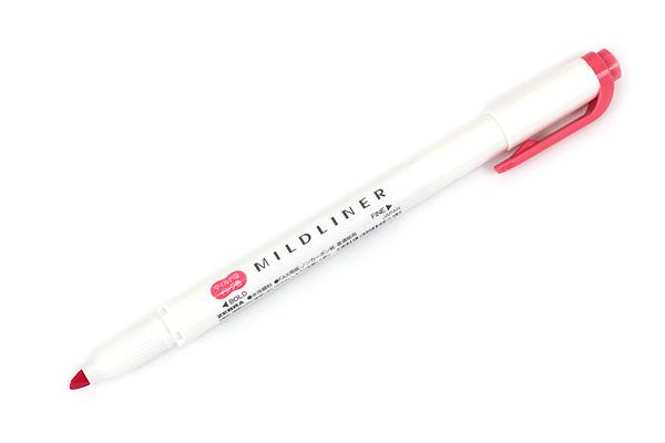 Zebra Mildliner Double-Sided Highlighter - Fine / Bold - Mild Red - ZEBRA WKT7-MR