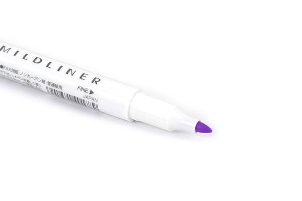 Zebra Mildliner Double-Sided Highlighter - Fine / Bold - Mild Violet - ZEBRA WKT7-MVI