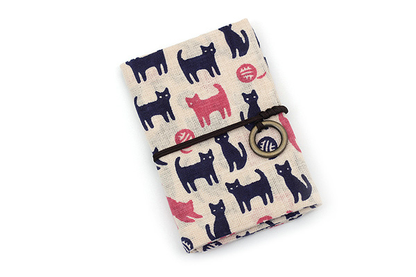 Miyamoto Collection Retro Komon Card Pocket Case - Tama and Kuro Cats - MIYAMOTO 07359