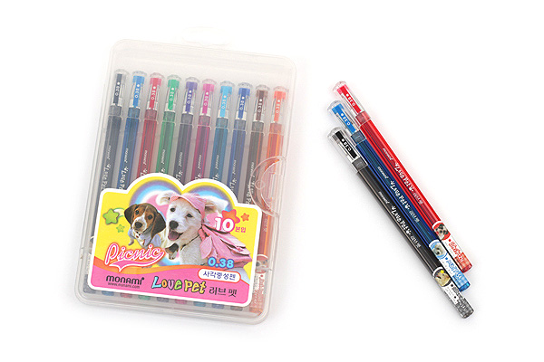 Monami Love Pet Gel Ink Pen - 0.38 mm - Red - MONAMI LOVE PET R
