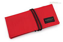 Saki P-667 Roll Pen Case - Japanese Tsumugi - Small - Red - SAKI 667055