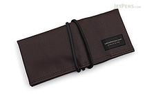 Saki P-667 Roll Pen Case - Japanese Tsumugi - Small - Brown Black - SAKI 667093