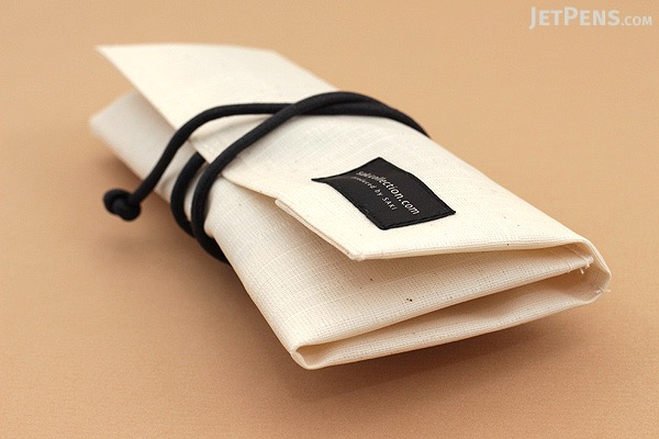 Saki P-667 Roll Pen Case - Japanese Tsumugi - Small - Unbleached (Off-White) - SAKI 667192
