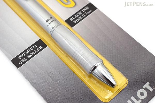 Pilot G2 Limited Metallic Body Gel Pen - 0.7 mm - Silver Body - PILOT BG2E7BLK-NSLV