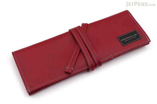 Saki P-660 Roll Pen Case - Leatherette - Medium - Wine - SAKI 660155