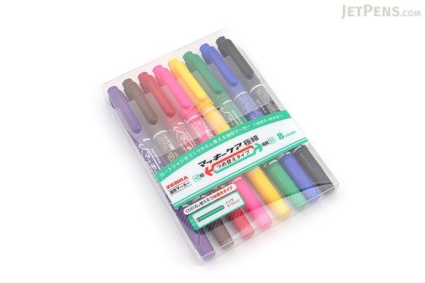 Zebra Mackee Care Refillable Double-Sided Marker - Extra Fine / Fine - 8 Color Set - ZEBRA YYTS5-8C