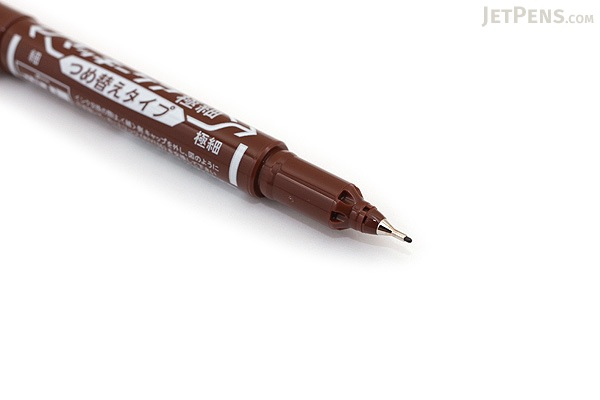Zebra Mackee Care Refillable Double-Sided Marker - Extra Fine / Fine - Brown - ZEBRA YYTS5-E