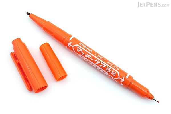 Zebra Mackee Care Refillable Double-Sided Marker - Extra Fine / Fine - Orange - ZEBRA YYTS5-OR