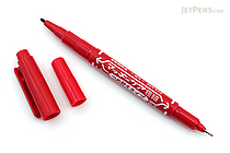 Zebra Mackee Care Refillable Double-Sided Marker - Extra Fine / Fine - Red - ZEBRA YYTS5-R