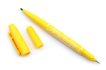 Zebra Mackee Care Refillable Double-Sided Marker - Extra Fine / Fine - Yellow - ZEBRA YYTS5-Y