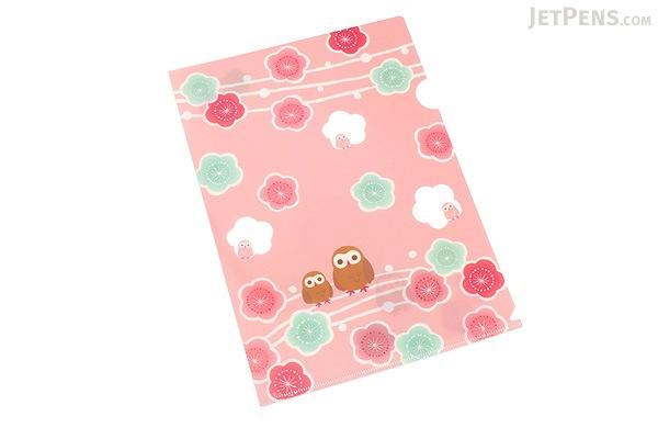 Kurochiku Japanese Pattern Clear Folder - A4 - Ume to Fukurou (Plum and Owl) - KUROCHIKU 71404604