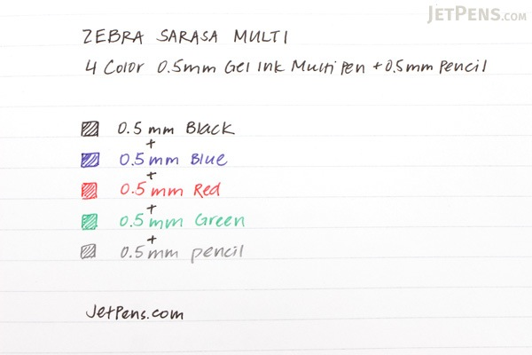Zebra Sarasa Multi 4 Color 0.5 mm Gel Ink Multi Pen + 0.5 mm Pencil - Pink - ZEBRA J4SA11-P