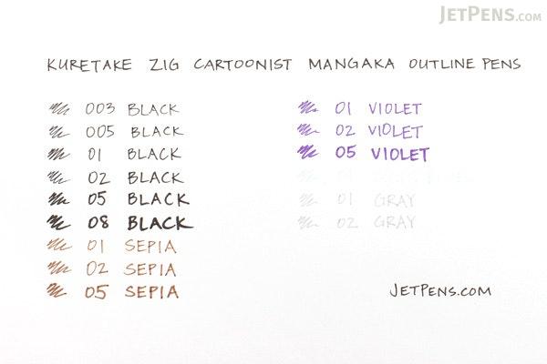 Kuretake Zig Cartoonist Mangaka Outline Pen - 01 - Sepia - KURETAKE CNM-01-065