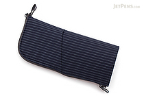 Kokuyo Neo Critz Transformer Pencil Case - Double-Zipper - Navy Blue Stripe / Blue - KOKUYO F-VBF131-2