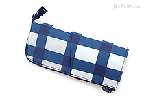 Kokuyo Neo Critz Pencil Case - White & Blue Grid / Pink - KOKUYO F-VBF131-3