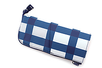 Kokuyo Neo Critz Transformer Pencil Case - Double-Zipper - White & Blue Grid / Pink - KOKUYO F-VBF131-3