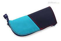 Kokuyo Neo Critz Mini Pencil Case - Emerald Green & Navy Blue / Brown - KOKUYO F-VBF132-2