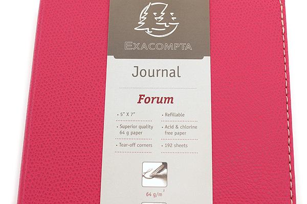 "Exacompta Club Leatherette Refillable Journal - Rose - 5"" X 7"" - 192 Sheets - Lined/Undated - EXACOMPTA 1818/15"