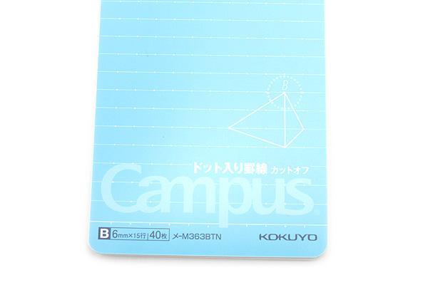 Kokuyo Campus Twin Ring Perforated Memo Pad - A7 - Dotted 6 mm Rule - KOKUYO ME-M363BTN