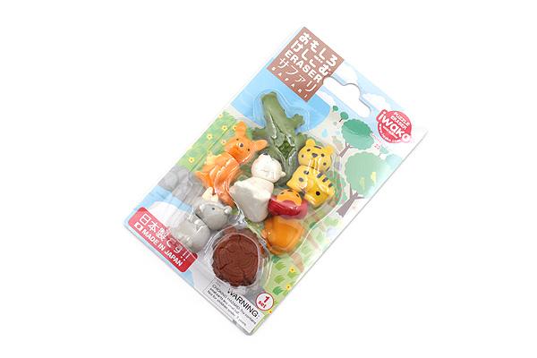 Iwako Safari Animal Novelty Eraser - 7 Piece Set - IWAKO ER-BRI025