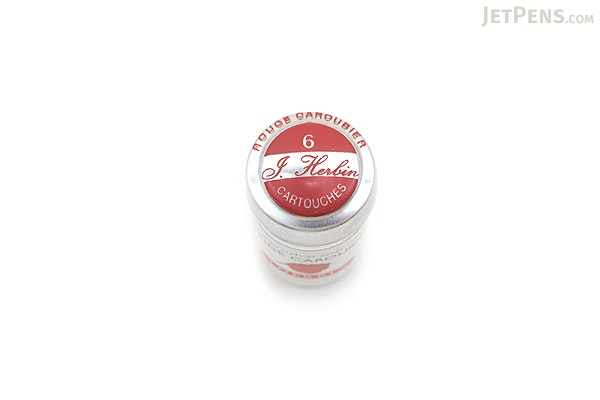 J. Herbin Fountain Pen Ink Cartridge - Rouge Caroubier (Carob Red) - Pack of 6 - J. HERBIN H201/22