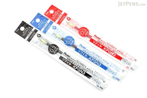Pentel Hybrid Technica Gel Pen Refill - 0.3 mm - Black - PENTEL XKFGN3-A