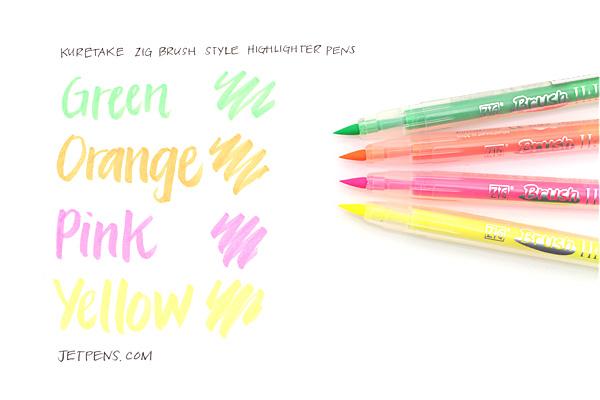 Kuretake Zig Brush Style Highlighter Pen - Yellow - KURETAKE BH-55-110