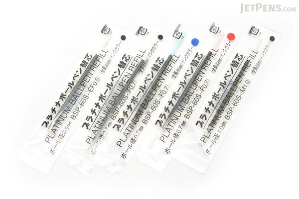 Platinum BSP-60S Ballpoint Pen Refill - 1.0 mm - Black - PLATINUM BSP-60S-(M1.0) 1